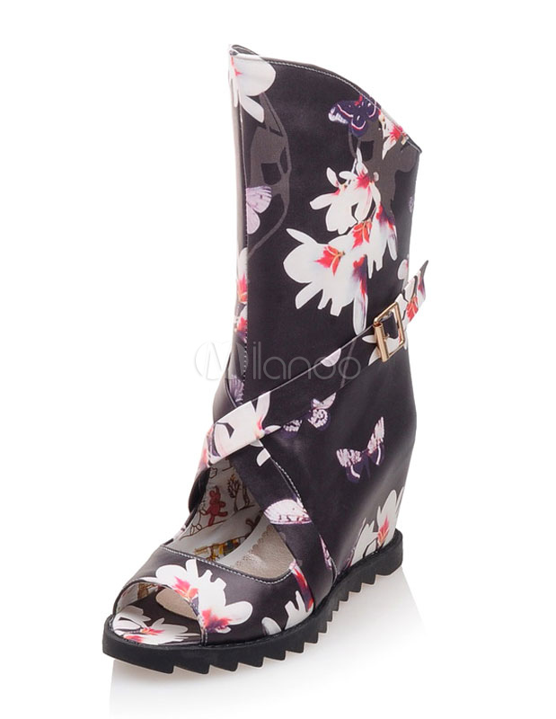 Buy Black Sandal Boots Peep Toe Floral Print Criss Cross Wedge Sandals For Women for $37.99 in Milanoo store