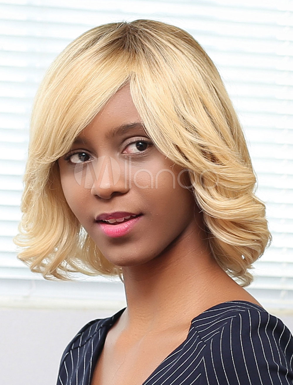 Buy Blonde Human Hair Wigs African American Curly Short Hair Wigs With Side Bangs for $84.99 in Milanoo store