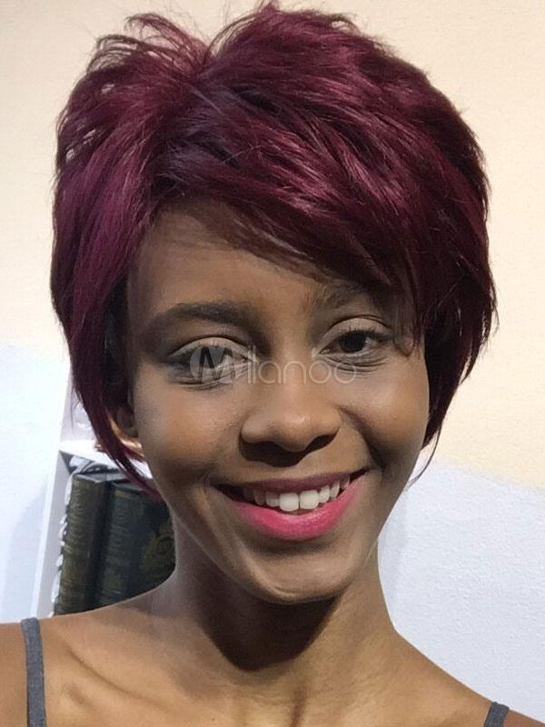 Human Hair Wigs African American Dark Red Short Hair Wigs Milanoo Com