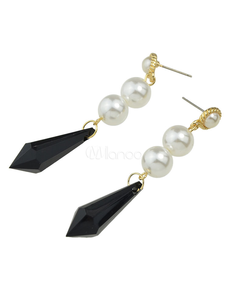 Black Drop Earrings Women's Pearls Pierced Dangle Earrings