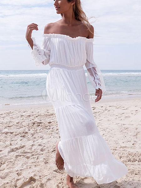Buy White Maxi Dress Chiffon Off The Shoulder Long Sleeve Pleated Long Dress for $22.39 in Milanoo store