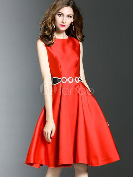 b45238de4 ... Patinador vestido azul marino cuello redondo sin mangas una línea  femenina forma y llamarada Vestido- ...