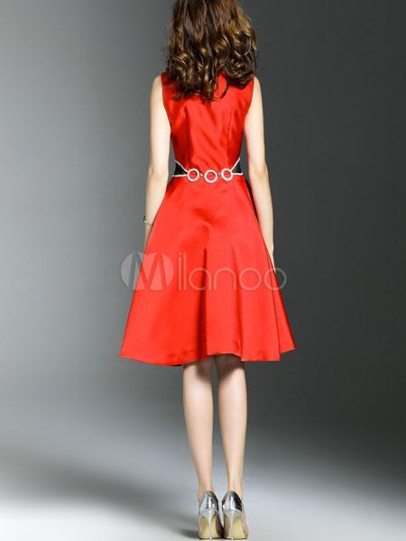 71b947d01 ... Patinador vestido azul marino cuello redondo sin mangas una línea  femenina forma y llamarada Vestido-