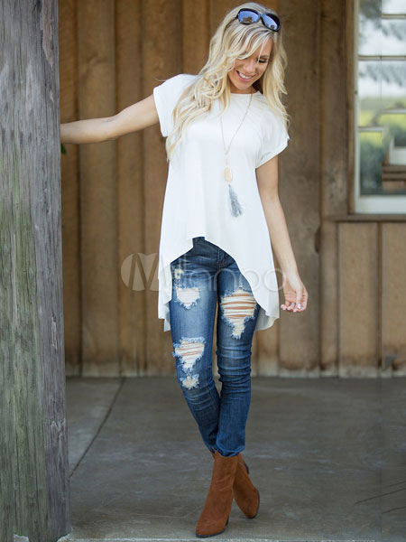 Women's White T Shirt Round Neck Short Sleeve Back Split High Low Chic Top