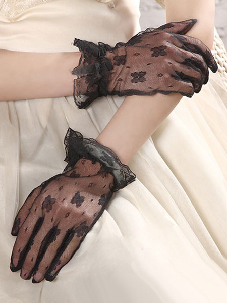 Black Lingerie Accessories Lace Ruffle Sheer Short Gloves