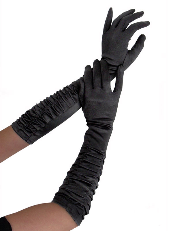 Black Lingerie Accessories Women's Ruched Long Gloves Cheap clothes, free shipping worldwide