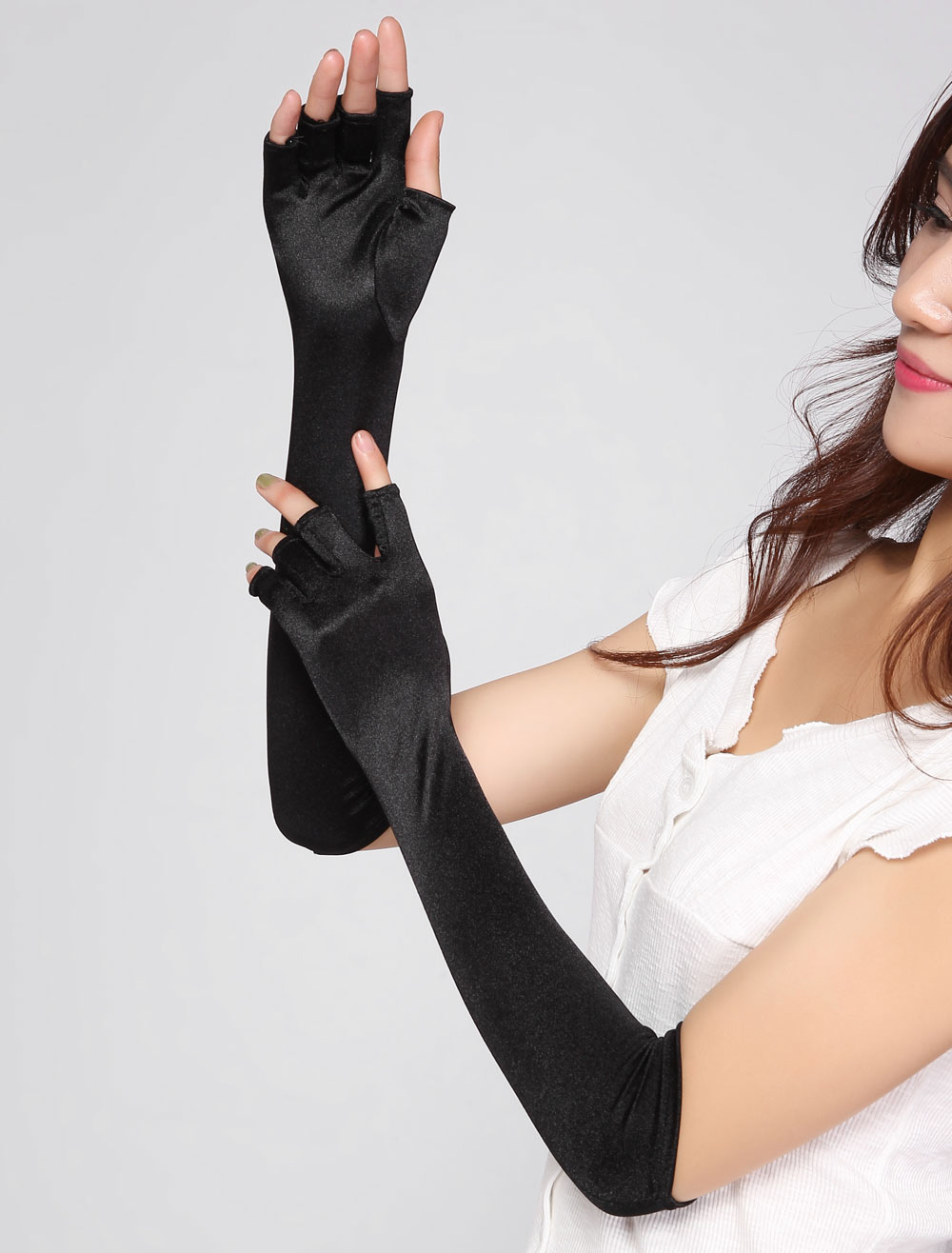 Black Stretch Fingerless Long Gloves For Women