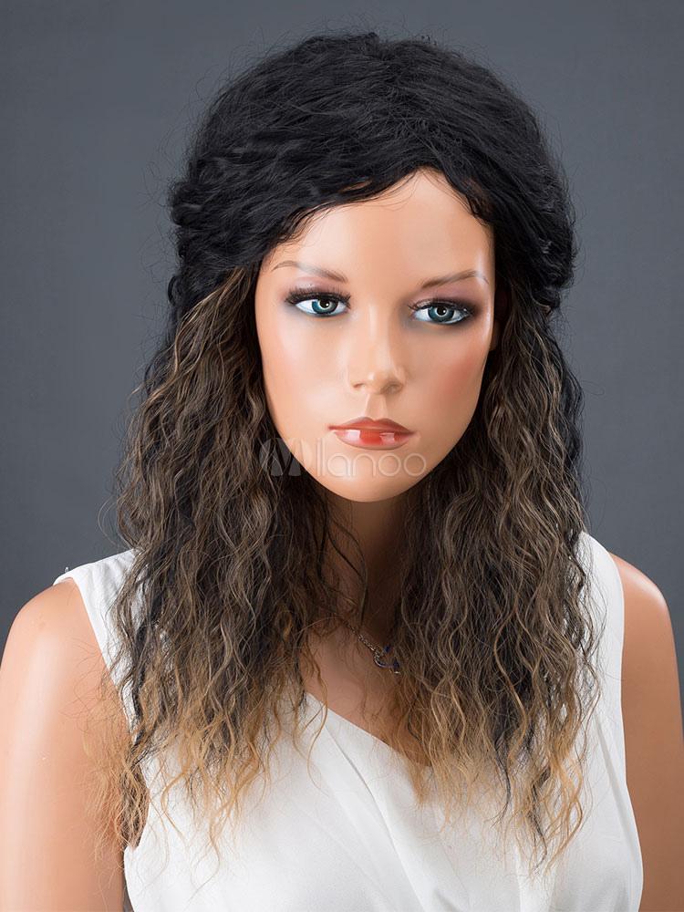 Black Hair Wigs Women's Corkscrew Curls Synthetic Wigs