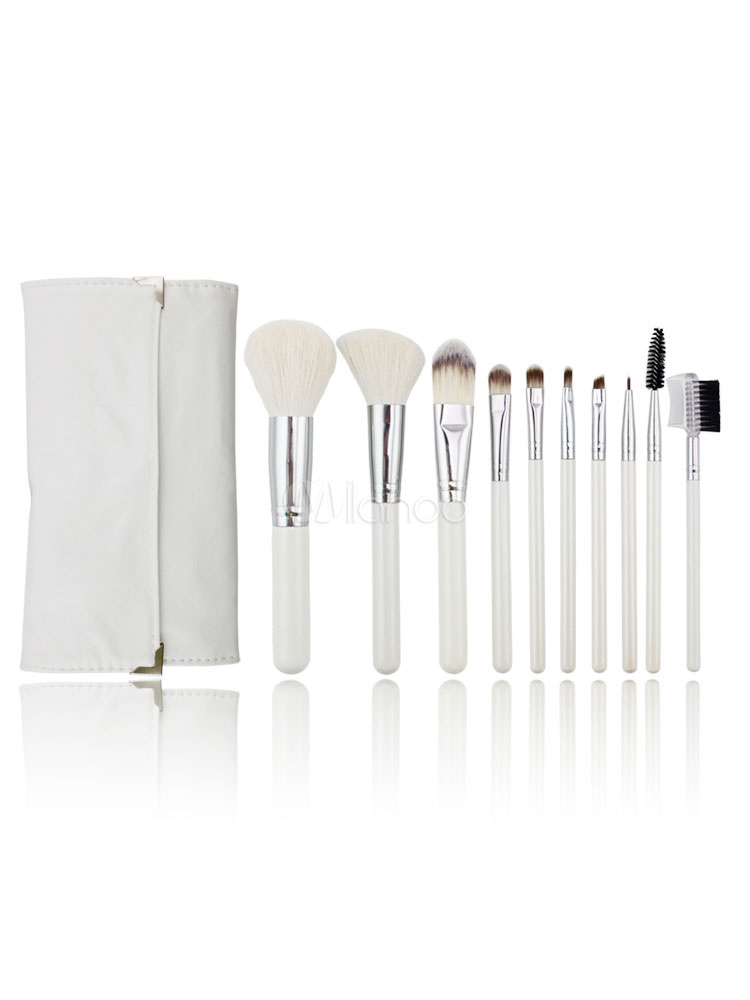 Milanoo / Makeup Brush Set 10 Pieces White Wood Synthetic Fibers Beauty Brushes With Case