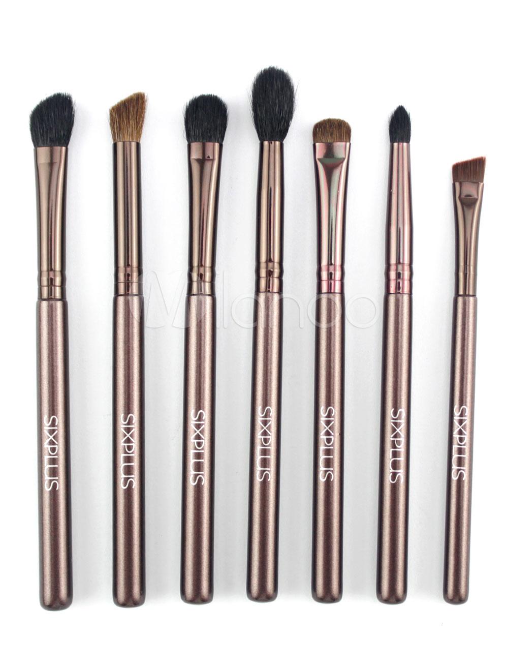 Horsehair Brush Set Dark Brown Wood Rod Eye Brush Set In 7 Pieces