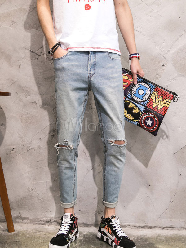 Men's Ripped Jeans Blue Cropped Denim Jeans