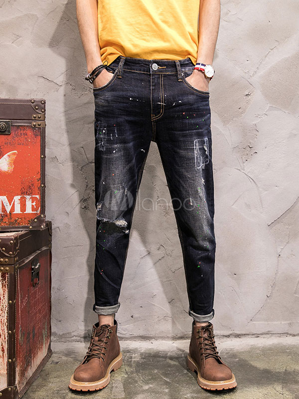 Black Ripped Jeans Men's Denim Washed Distressed Chic Pencil Pants