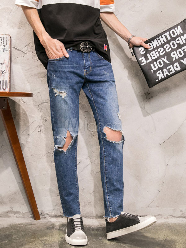 Buy Blue Ripped Jeans Men's Destroyed Straight Leg Denim Jean for $37.79 in Milanoo store