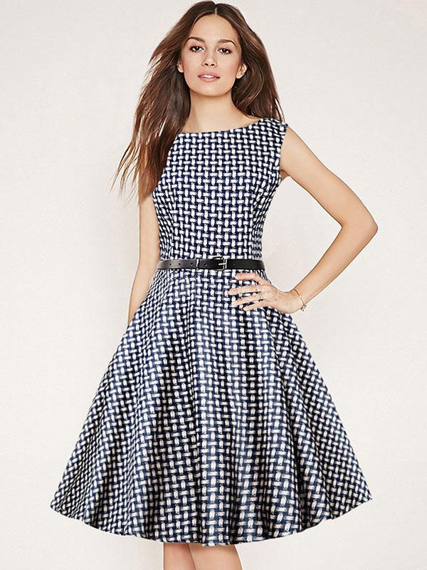 388663a6b Llamarada sin mangas vestido Retro cuadros Vintage vestido negro Bateau  mujer-No.1 ...