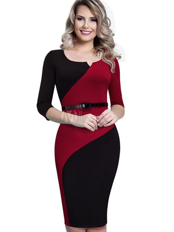 Red Bodycon Dress Contrast Color Women's 3/4 Sleeve Back Slit Sheath Dress
