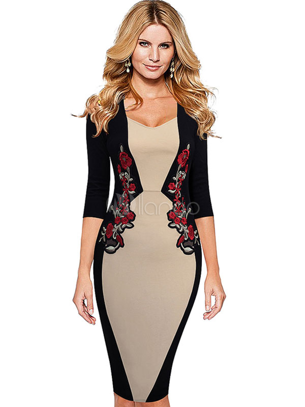 Black Bodycon Dress Flowers Embroidered Women's Contrast Color 3/4 Sleeve Pencil Dress