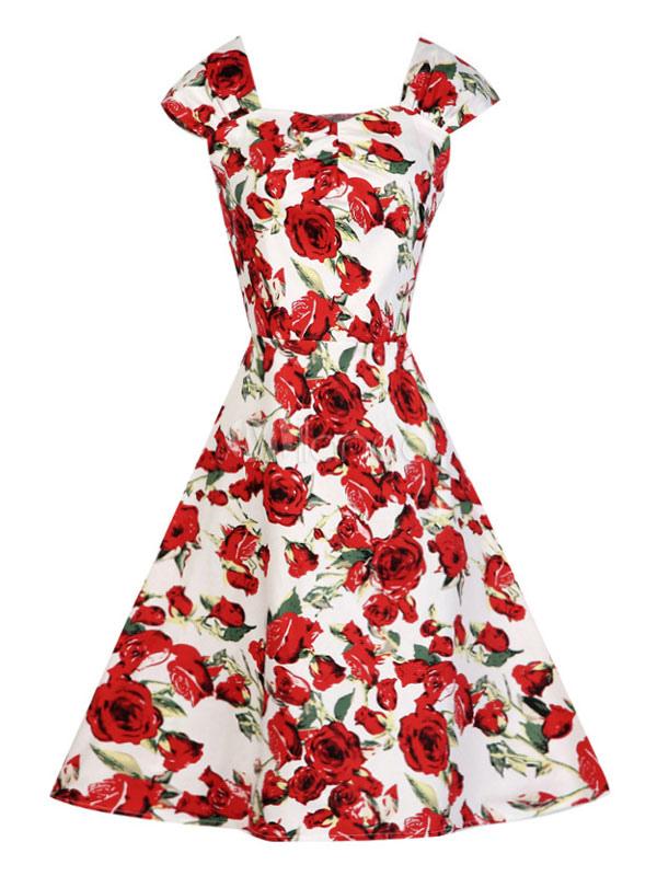 Florale Vintage Kleid rot ärmellos Rose Blumen gedruckten Retro-Kleid für  Damen-No. f308c22137