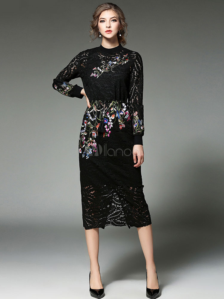 Buy Black Lace Dress Women's Jewel Neck Long Sleeve Jacquard Semi-Sheer Bodycon Dress for $62.99 in Milanoo store