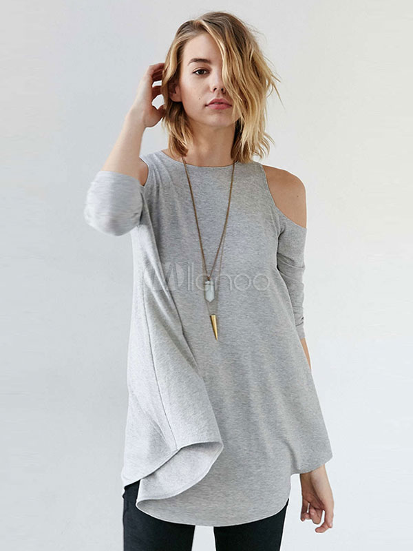 Women's Grey T Shirt Jewel Neck Half Sleeve Cold Shoulder Asymmetrical Top Cheap clothes, free shipping worldwide