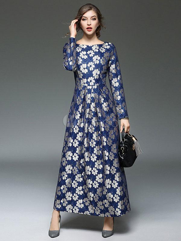 9c9392b46ec Women's Maxi Dress Deep Blue Floral Jacquard Long Sleeve Round Neck Long ...