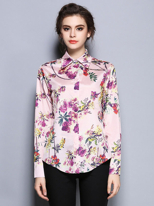 e3ed47c95a ... Camisa rosa de la mujer separó cuello manga larga camisa estampado  Floral con botones-No ...