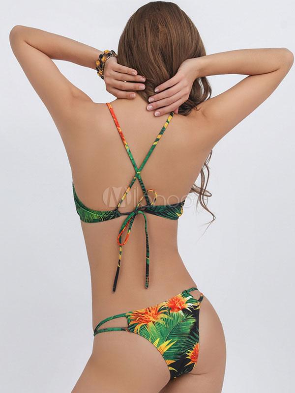 9edc322d7 ... 2 piezas traje de baño Multicolor impreso sin mangas cruzado espalda  Bikini Sexy Top con tiras