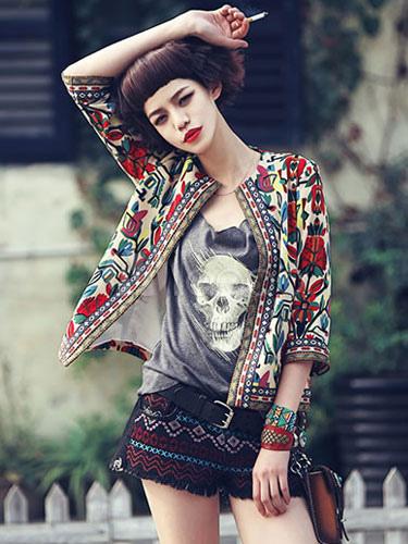 260c15d48c6 ... 3 4 de manga casaco curto floral feminino bordado jaqueta frente aberta  étnica-No ...