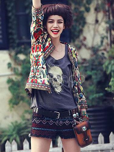 da93685749e 3 4 de manga casaco curto floral feminino bordado jaqueta frente aberta  étnica-No ...