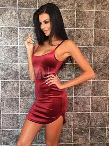 Buy Burgundy Bodycon Dress Velvet Spaghetti Straps Sleeveless Slim Fit Short Dress for $13.49 in Milanoo store