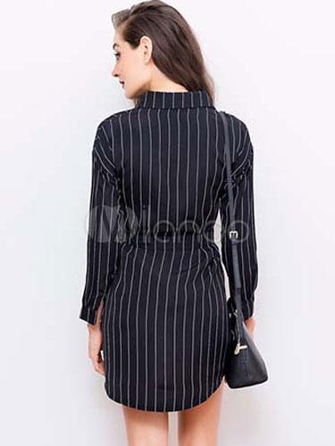 ... Manga longa Skater vestido camisa vestido listras feminino preto com  faixa-No.2 ... 59e8b2807f57