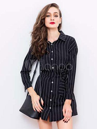 Black Shirt Dress Stripes Women's Long Sleeve Skater Dress With Sash Cheap clothes, free shipping worldwide