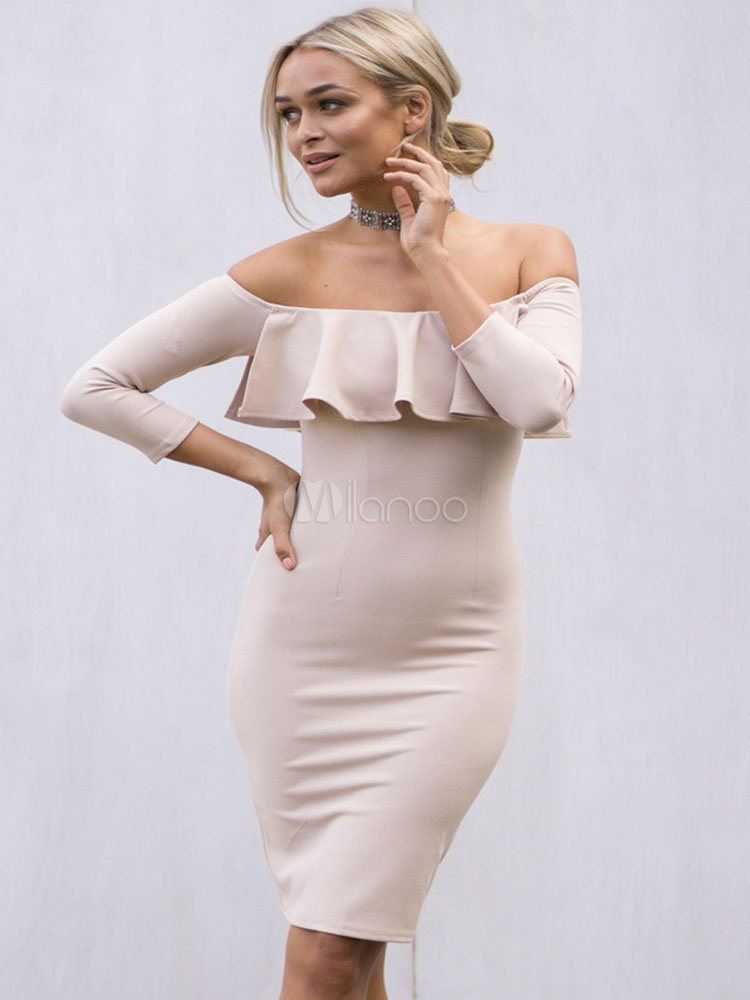 f1ef6caa52f2 Women s Bodycon Dress Light Pink Off The Shoulder Ruffle Slim Fit Sheath ...