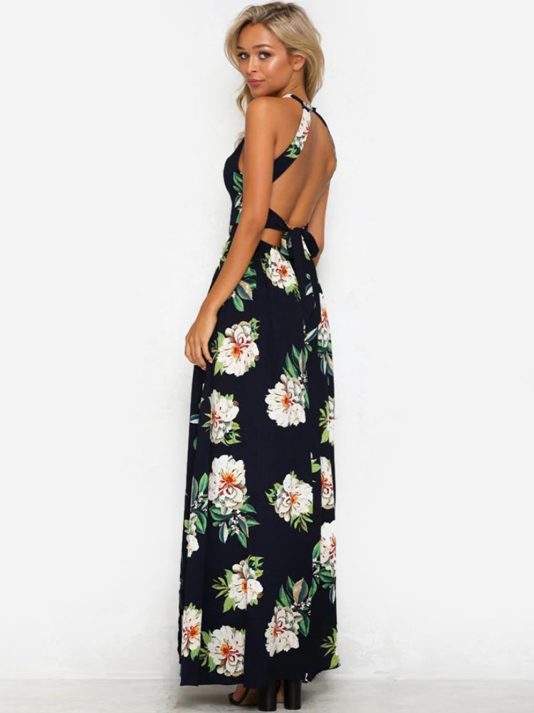 1ac26b628d7 White Maxi Dress Floral Print Women s Halter Backless Sleeveless High Split  Long ...