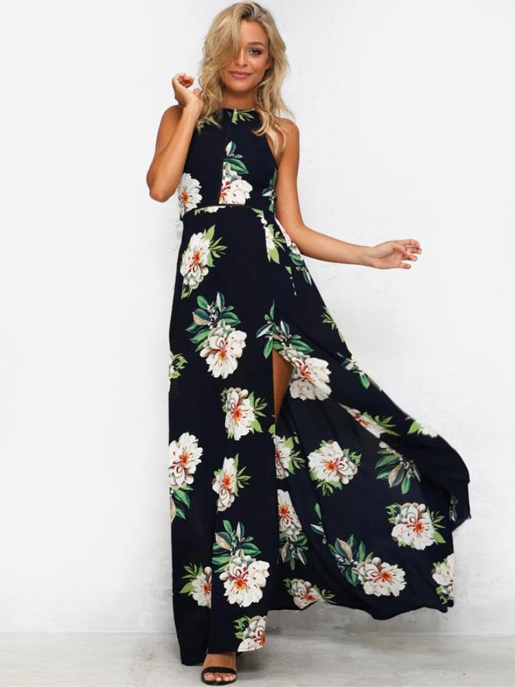 White Maxi Dress Floral Print Womens Halter Backless Sleeveless