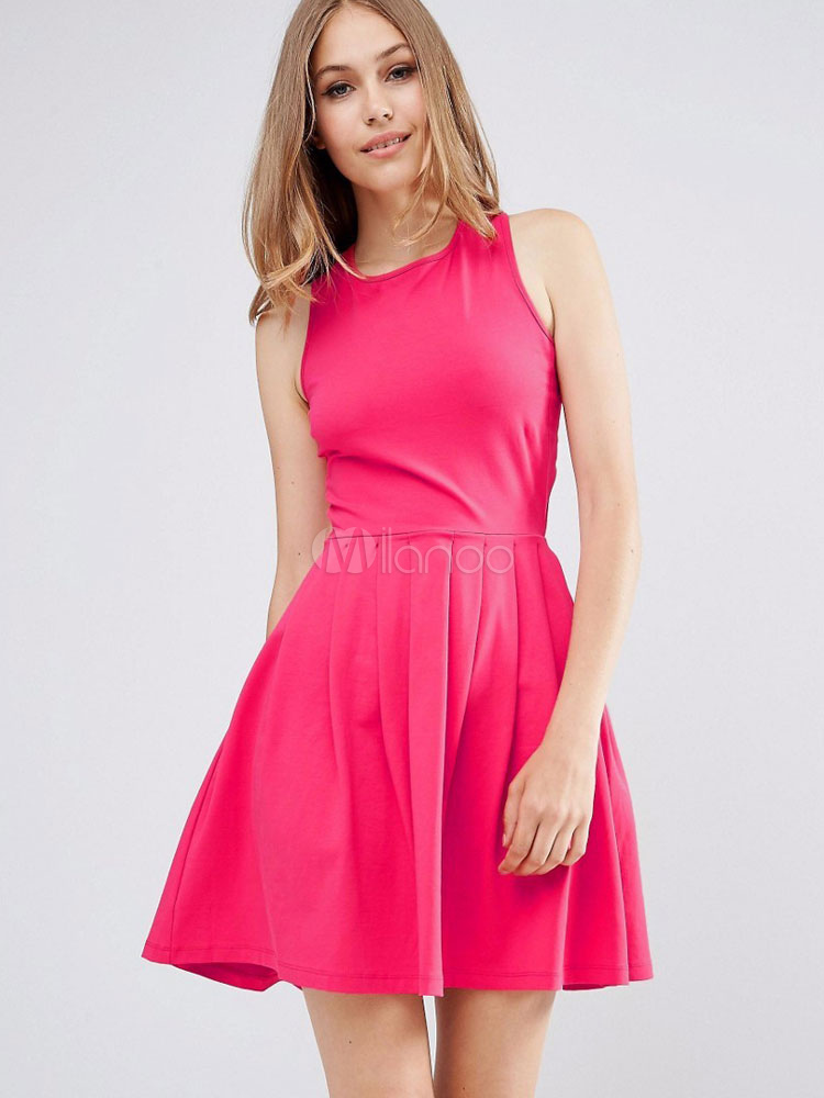 Summer Skater Dress Rose Red Back Cross Women s Sleeveless Pleated Fit And  Flare Dress- ... 8f8683cdc2
