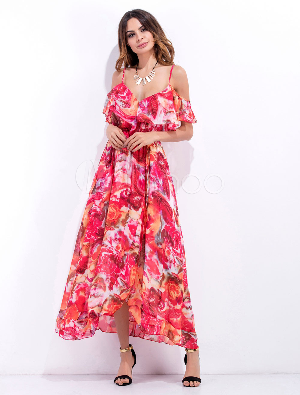 8292e0c41193 ... Spaghetti Straps Ruffle Floral Printed Long Dress For Women-No. 1.  40%OFF. Color Red