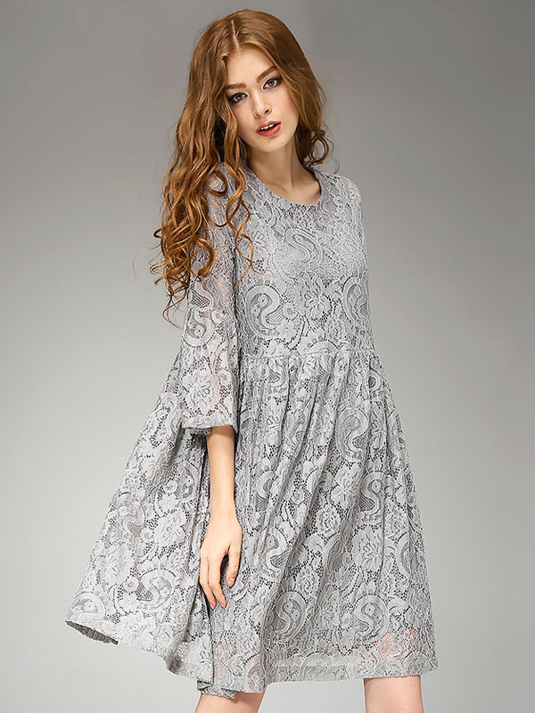 Grey Lace Dress Women's Round Neck Bell Sleeve Swing Dress March 2018. New collection, free shipping.