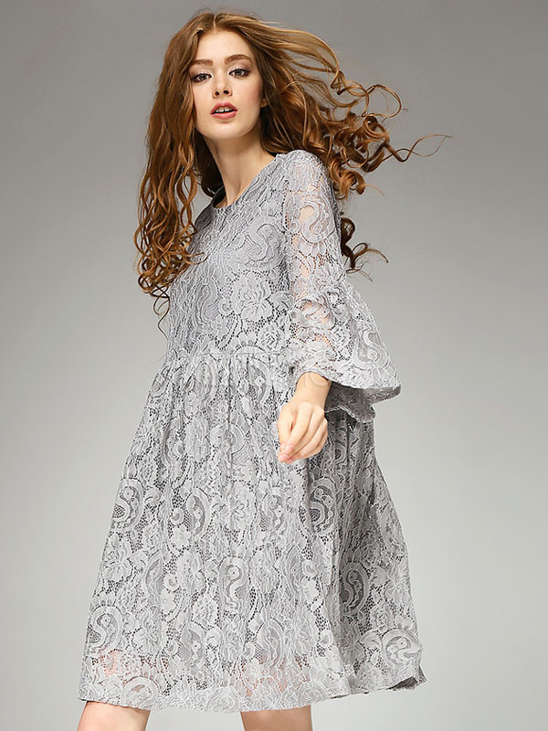 d9ab14fb4d1d5 Grey Lace Dress Women's Round Neck Bell Sleeve Swing Dress - Milanoo.com