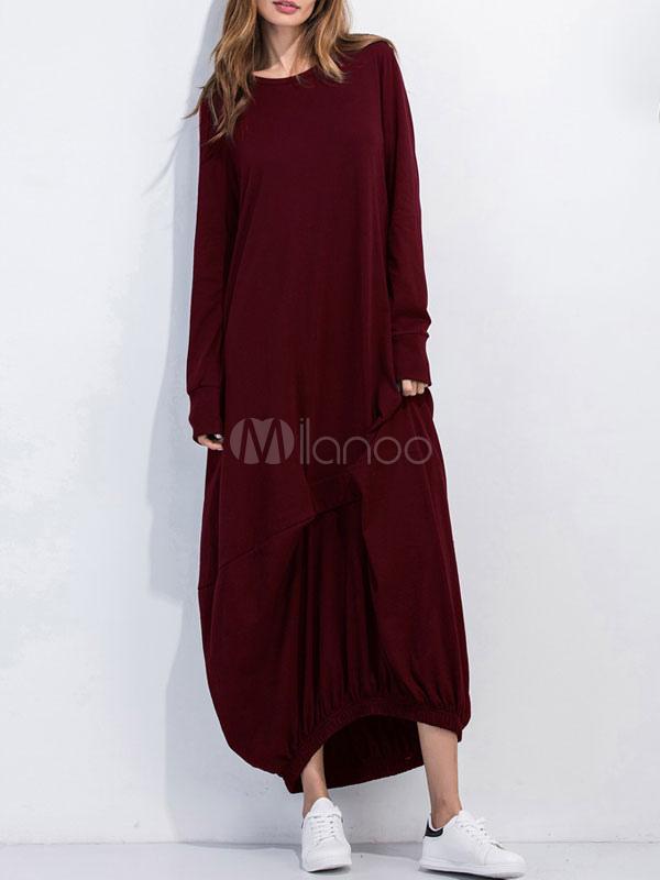 Grey Maxi Dress Women's Round Neck Long Sleeve Oversized T Shirt Dress