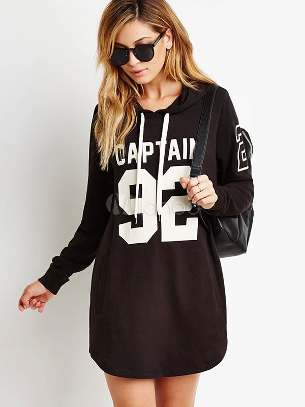 Women's Black Hoodie Letters Printed Long Sleeve Longline Hooded Sweatshirt Cheap clothes, free shipping worldwide