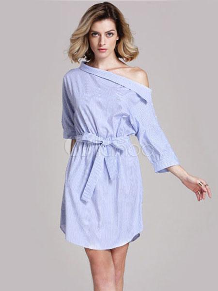 3caaf29d2ed Women s Shirt Dress Light Blue Striped 3 4 Length Sleeve Lace Up  Asymmetrical Summer Dress ...