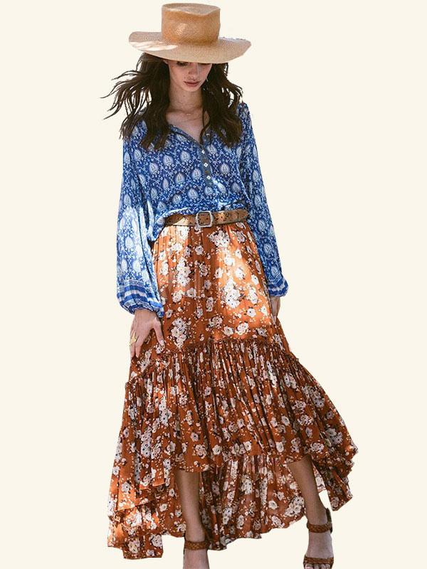 Buy Boho Maxi Skirt Light Brown Ruffled High Low Irregular Hem Floral Printed Flared Skirt for $23.74 in Milanoo store