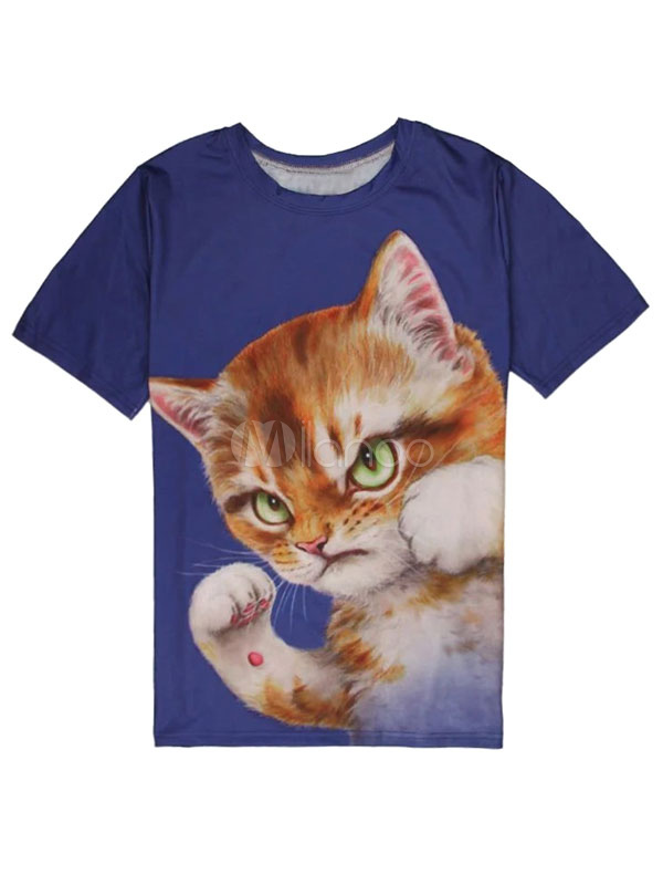 Buy Short Sleeve T Shirt Deep Blue Round Neck Cat Printed Casual T Shirt For Men for $9.99 in Milanoo store