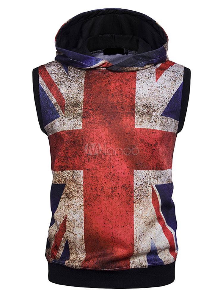 online store 5701a 86dca Felpa con cappuccio casuale senza maniche gilet con stampe bandiera inglese  per uomo