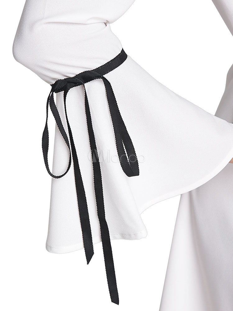 Milanoo / White Skater Dress Stand Collar Bell 3/4 Length Sleeve Ruffle Short Dress