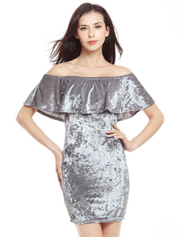 Buy Grey Bodycon Dress Velvet Ruffle Off The Shoulder Short Sleeve Slim Fit Sheath Dress for $17.99 in Milanoo store