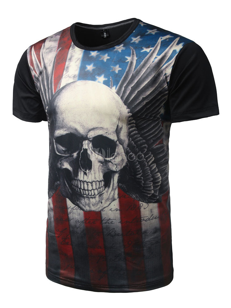 Buy Men's Black T Shirt Round Neck Short Sleeve Skull And Flag Printed Casual Top for $14.39 in Milanoo store