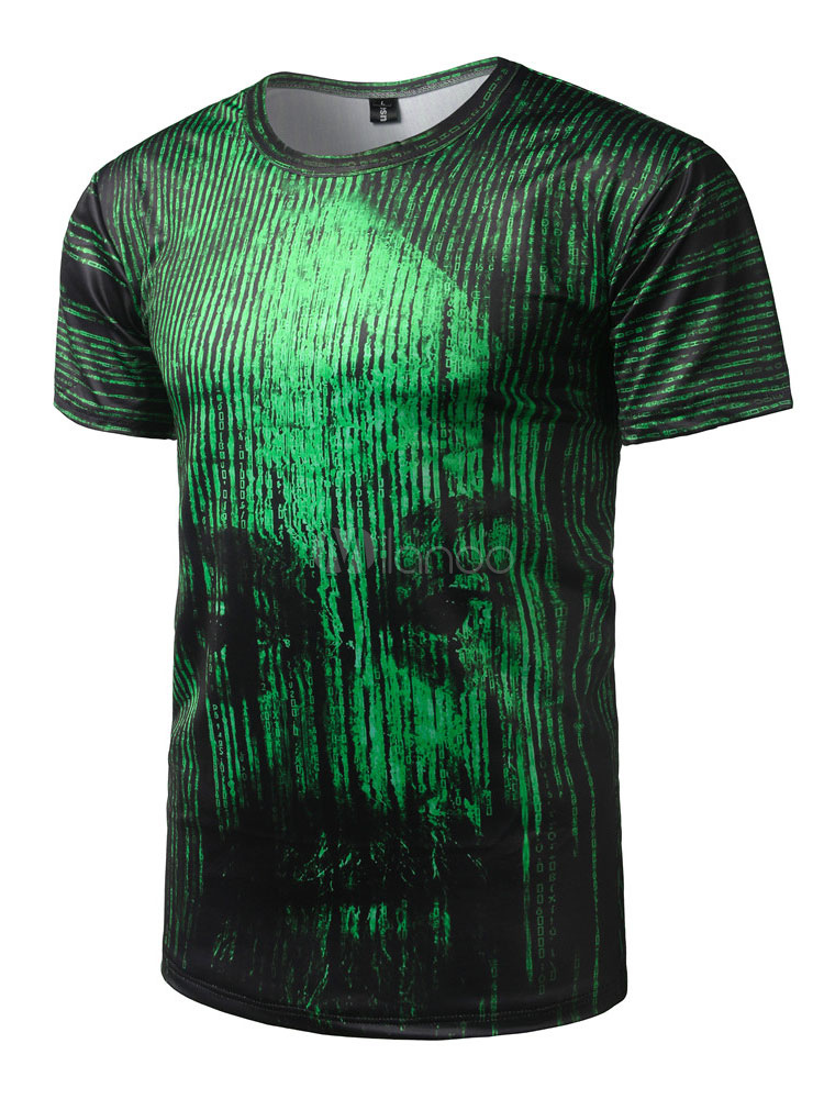 Buy Men's Green T Shirt Round Neck Short Sleeve Stripes Printed Slim Fit Top for $14.39 in Milanoo store
