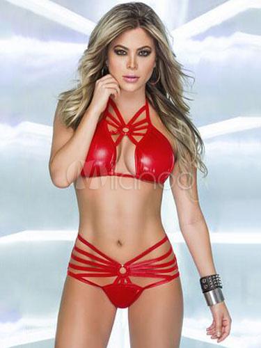 Sexy Clubwear Set Red PU Cut Out Straps Pole Dancing Bikini Set For Women
