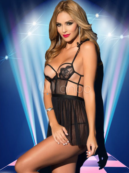 Black Sexy Babydoll Lace Spaghetti Straps Cut Out Pleated Escotado Sheer Lingerie
